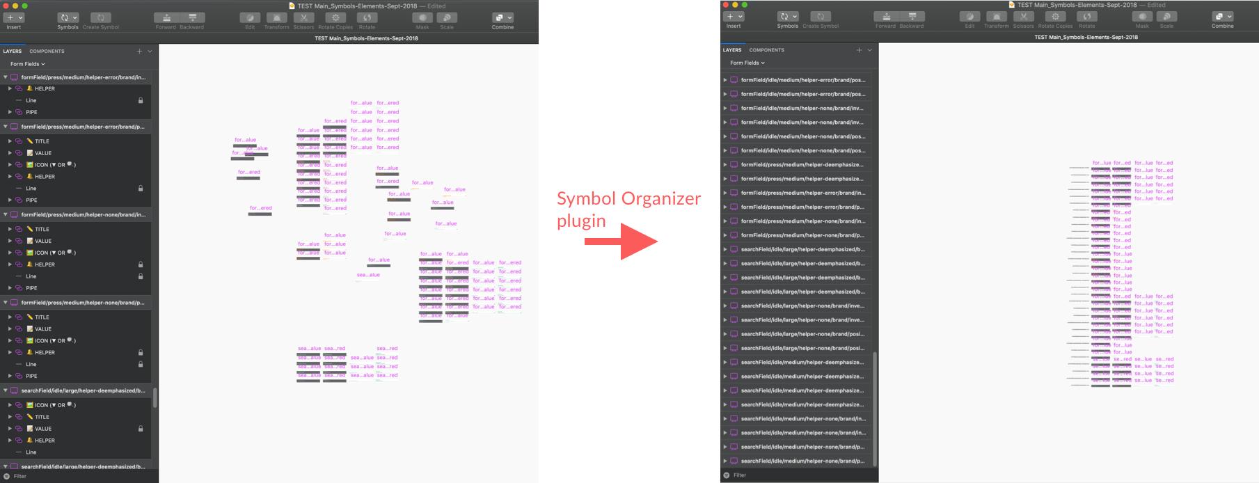 Symbol Organizer plugin organizing artboards.